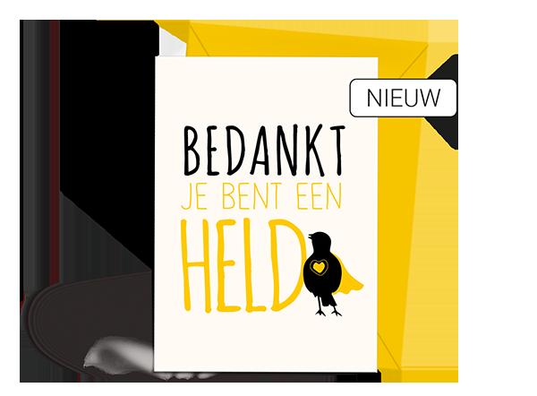 Wenskaart - Bedankt - Held - Nieuw