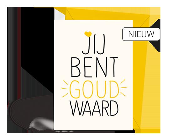 Wenskaart - Bedankt - Goud - Nieuw