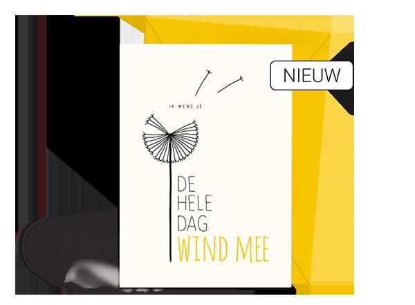 Wenskaart - Verjaardag - Wind mee - Nieuw