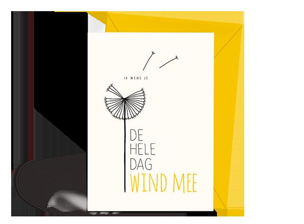 Wenskaart - Verjaardag - Wind mee